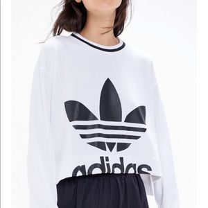 Adidas Trefoil Step Hem Cropped Sweatshirt